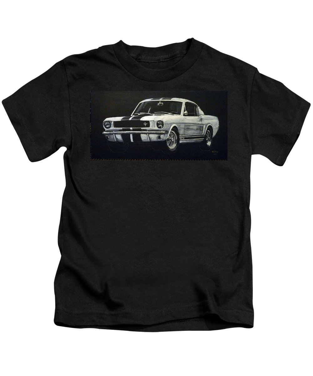 Mustang Kids T-Shirt featuring the painting Mustang by Richard Le Page