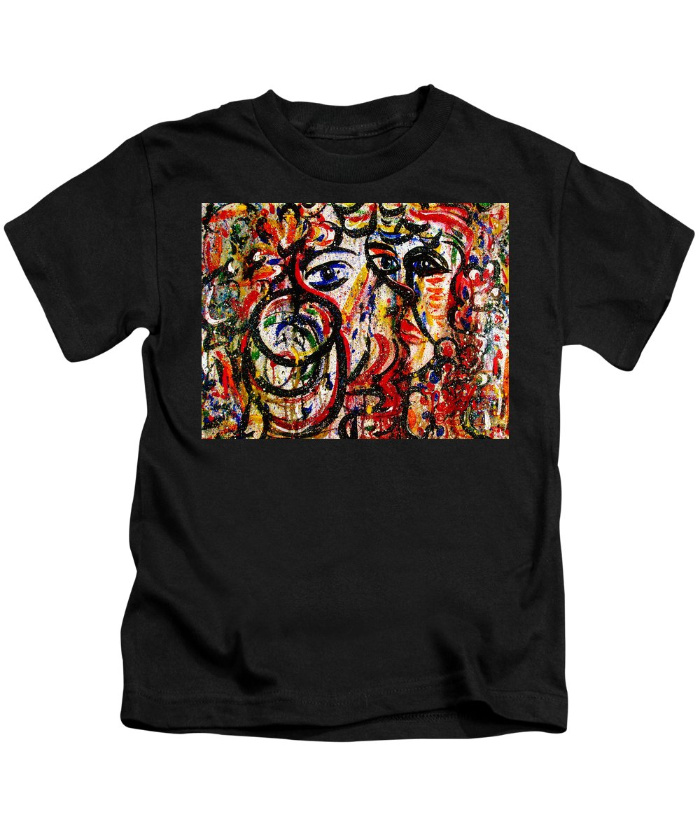 Free Expressionism Kids T-Shirt featuring the painting Mutual Admiration by Natalie Holland