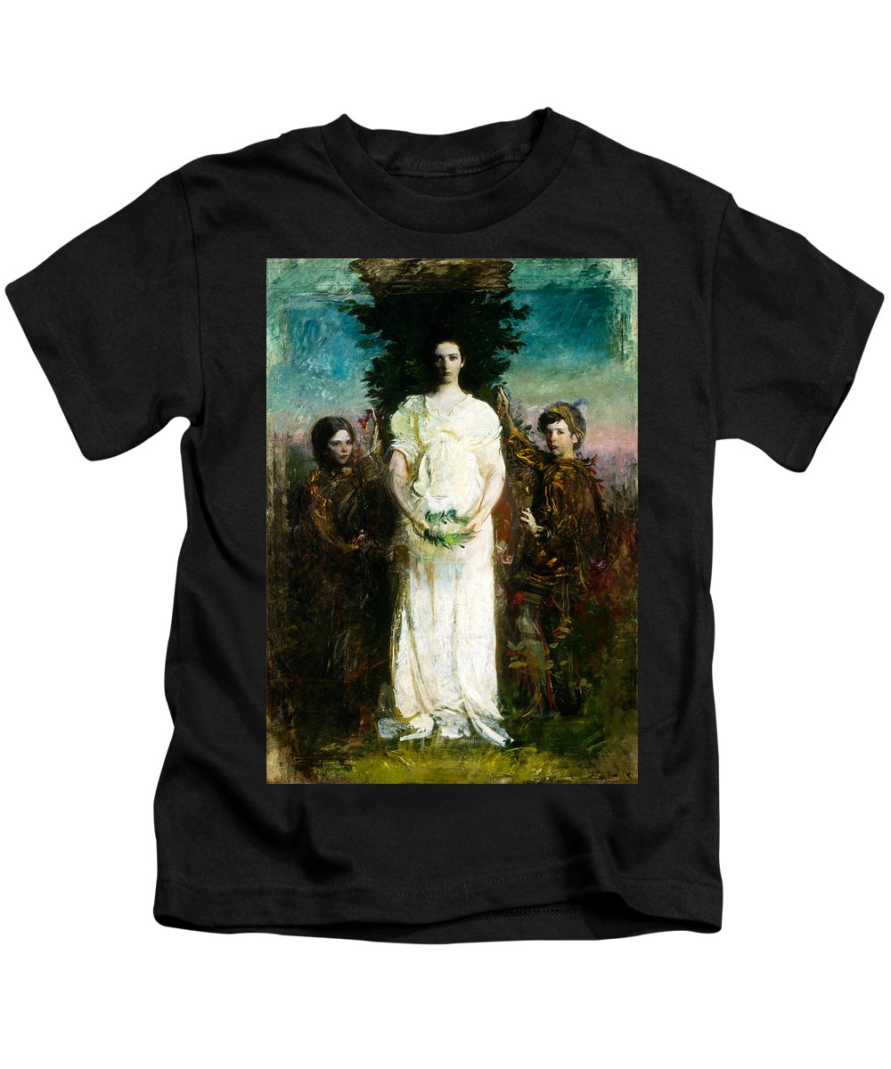 Abbott Thayer Kids T-Shirt featuring the painting My Children Mary Gerald And Gladys Thayer by Abbott Handerson Thayer