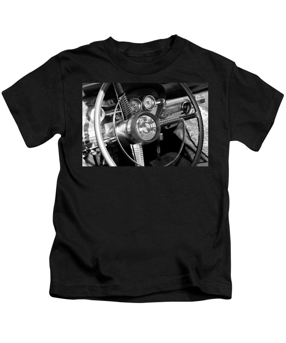 Steering Wheel Kids T-Shirt featuring the photograph My Father's Wheels by David Lee Thompson