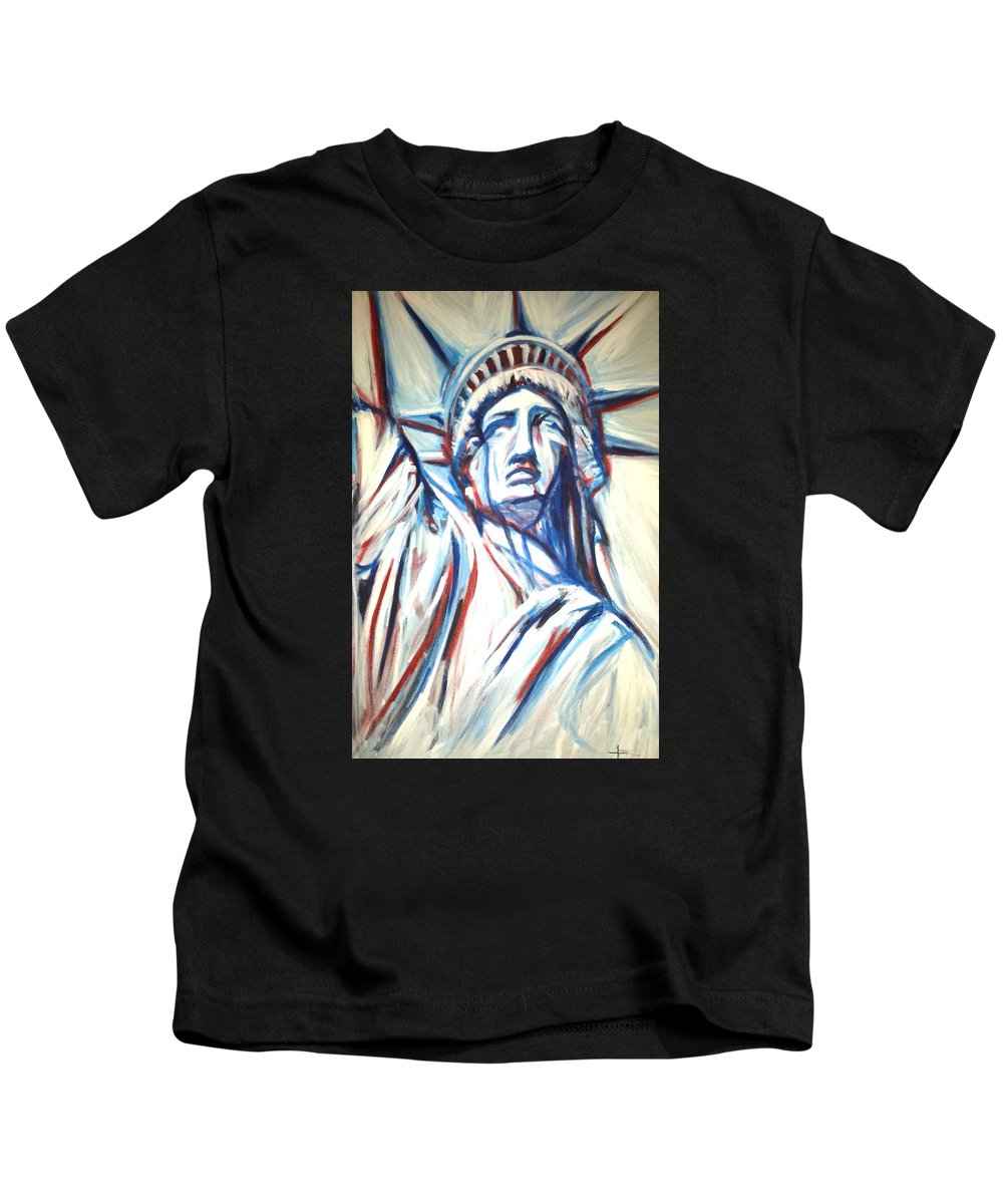 Statue Kids T-Shirt featuring the painting My Lady Liberty by Pedro Flores