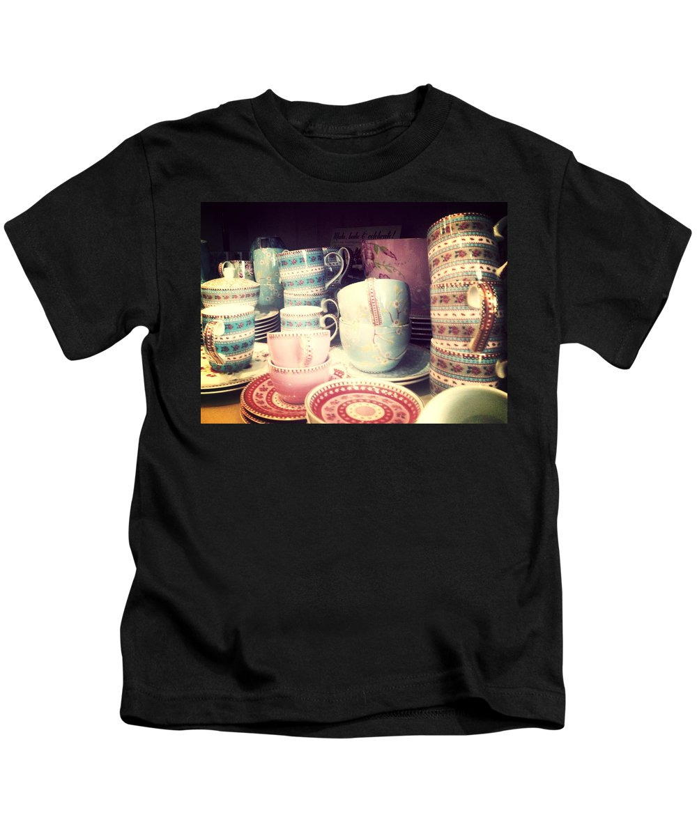 China Cups Cup Saucer Saucers Plate Plates Handle Crockery Chic Retro Kids T-Shirt featuring the photograph My Old China by In Plain Sight
