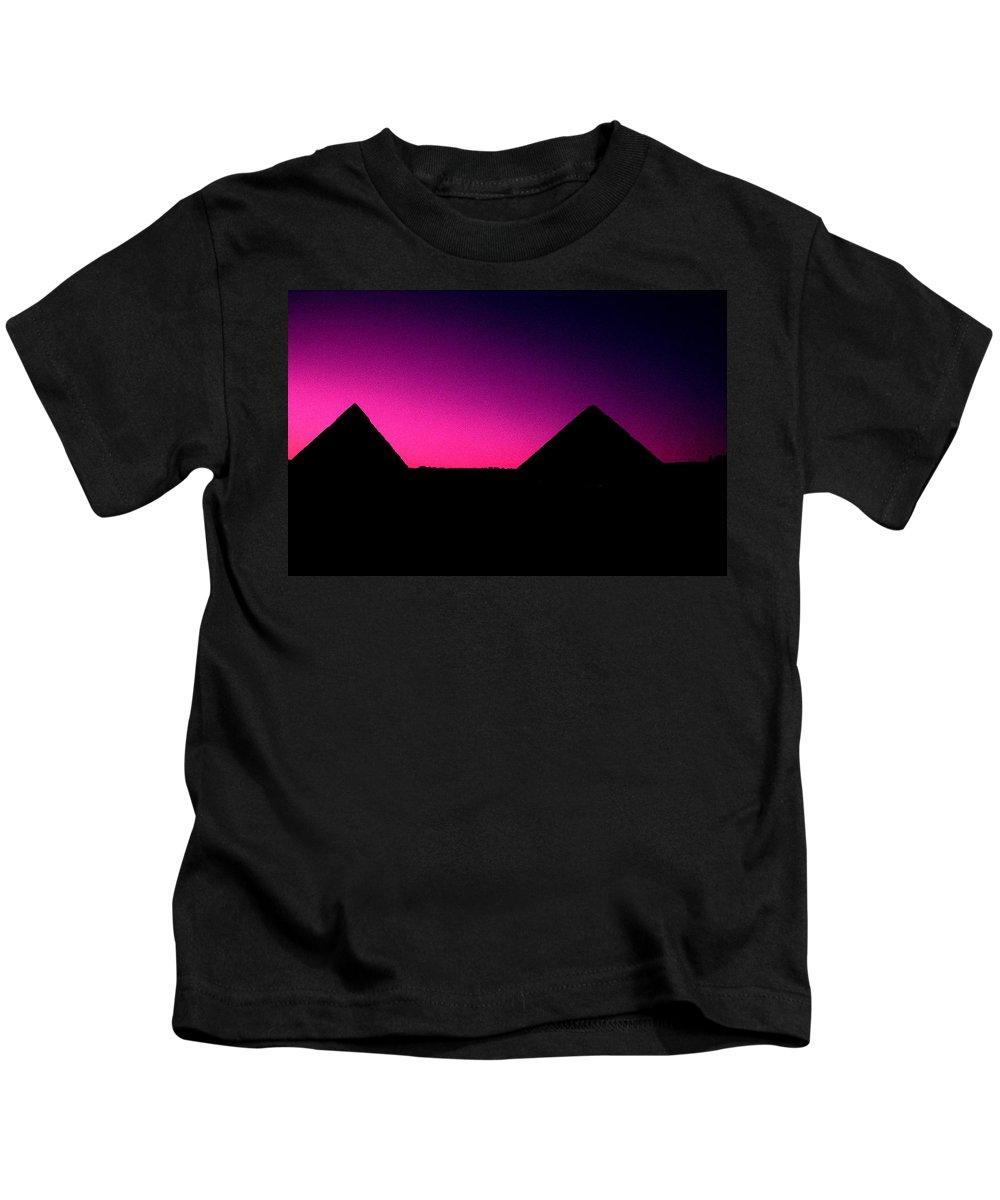 Pyramids Kids T-Shirt featuring the photograph The Pyramids At Sundown by Gary Wonning