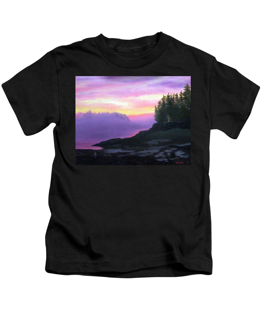 Sunset Kids T-Shirt featuring the painting Mystical Sunset by Sharon E Allen