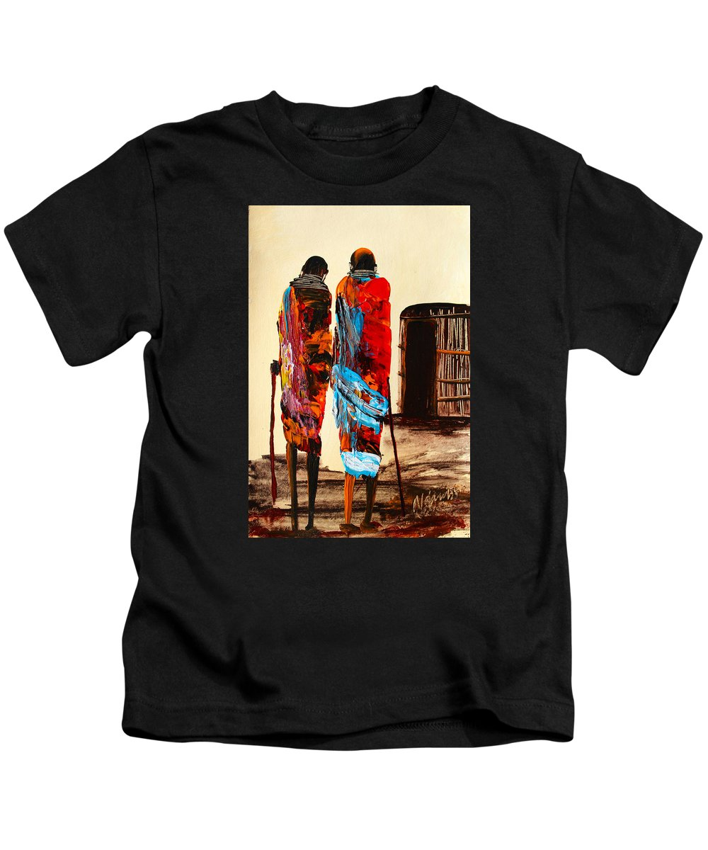 True African Art Kids T-Shirt featuring the painting N 100 by John Ndambo