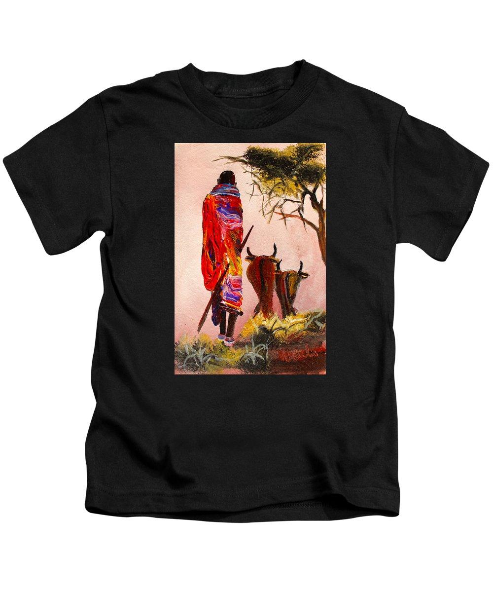 True African Art Kids T-Shirt featuring the painting N 112 by John Ndambo