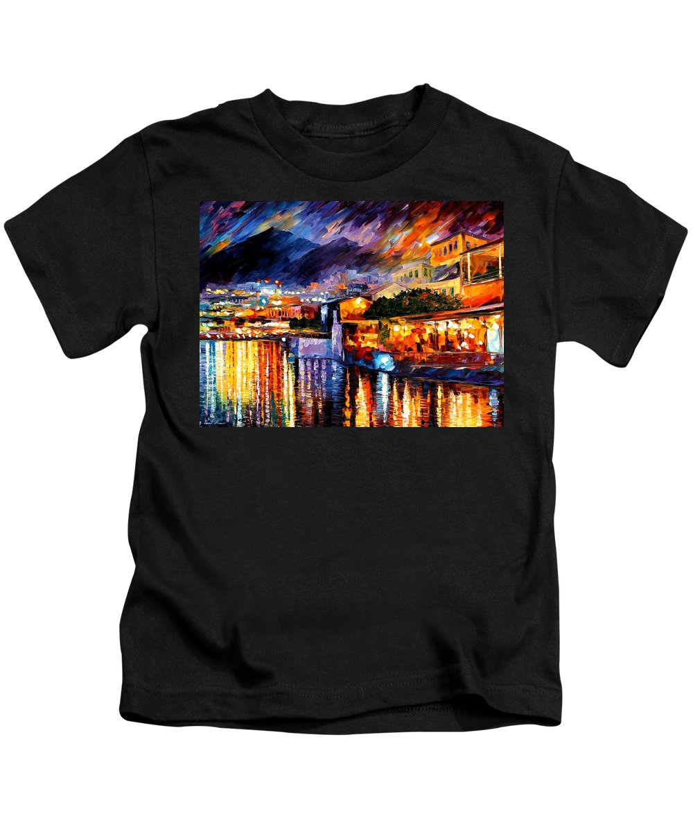 Afremov Kids T-Shirt featuring the painting Naples - Vesuvius by Leonid Afremov