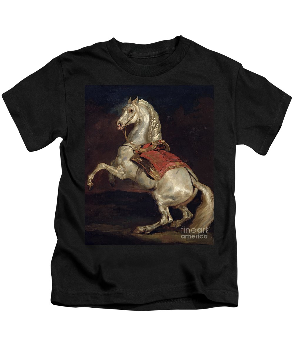 Napoleon Kids T-Shirt featuring the painting Napoleon's Stallion Tamerlan by Theodore Gericault
