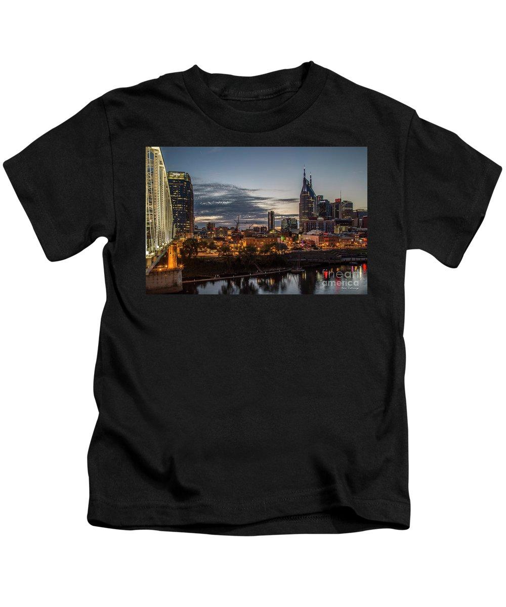 Reid Callaway Nashville Cityscape Art Kids T-Shirt featuring the photograph Nashville Broadway Street Shelby Street Bridge Downtown Cityscape Art by Reid Callaway