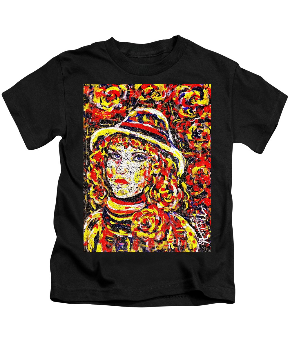 Woman Kids T-Shirt featuring the painting Nat With The Hat by Natalie Holland