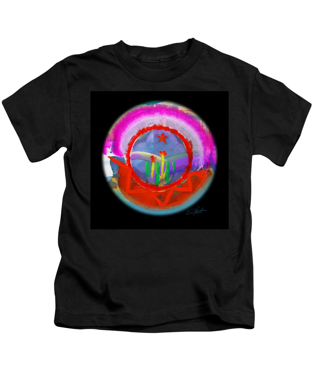 Black Hills Kids T-Shirt featuring the painting Native American Spring by Charles Stuart