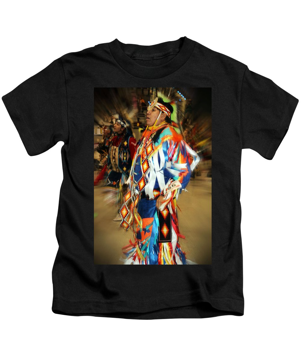 Native Americans Kids T-Shirt featuring the photograph Native Leader by Audrey Robillard