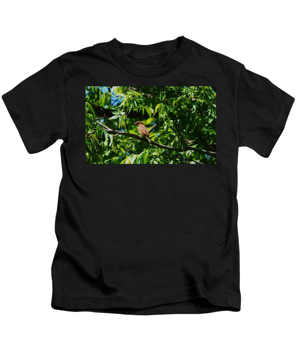 Bird Kids T-Shirt featuring the photograph Natural Insect Repellant by Eric Liller