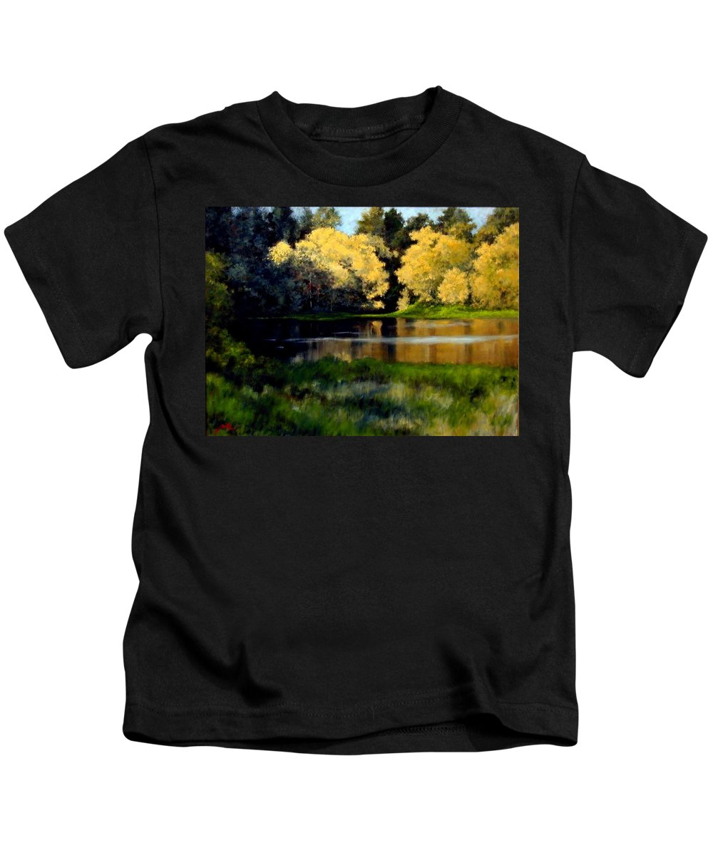 Landscape Kids T-Shirt featuring the painting Nature Walk by Jim Gola