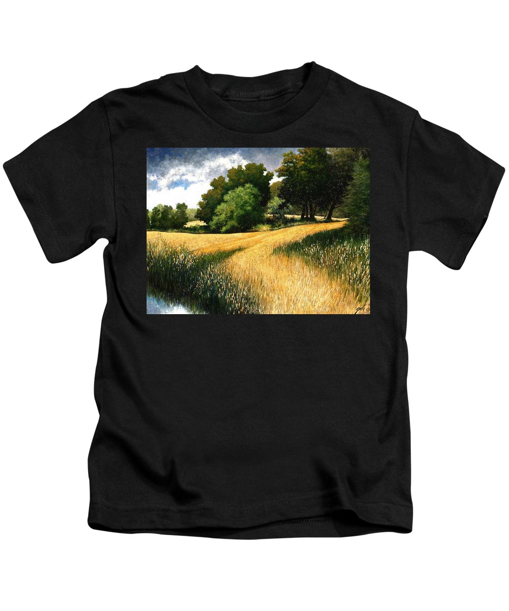 Landscape Kids T-Shirt featuring the painting Nature Walk Ridgefield Washington by Jim Gola