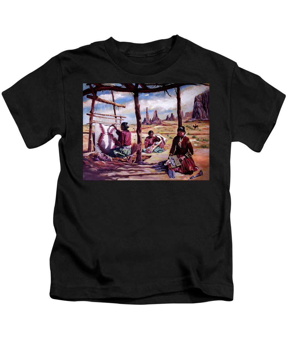 Native American Kids T-Shirt featuring the painting Navajo Weavers by Nancy Griswold