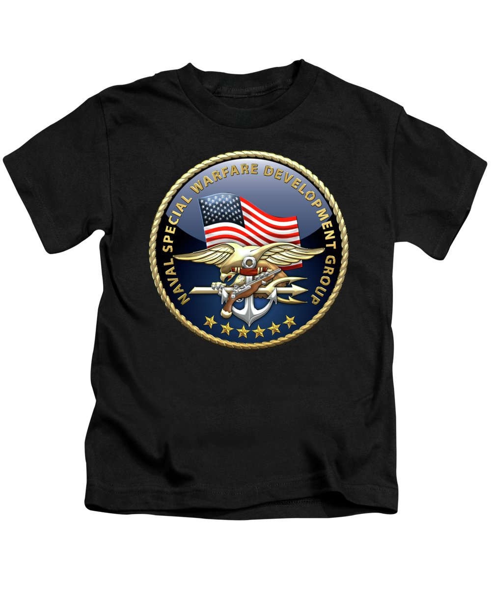 'military Insignia & Heraldry - Nswc' Collection By Serge Averbukh Kids T-Shirt featuring the digital art Naval Special Warfare Development Group - Devgru - Emblem On Black by Serge Averbukh