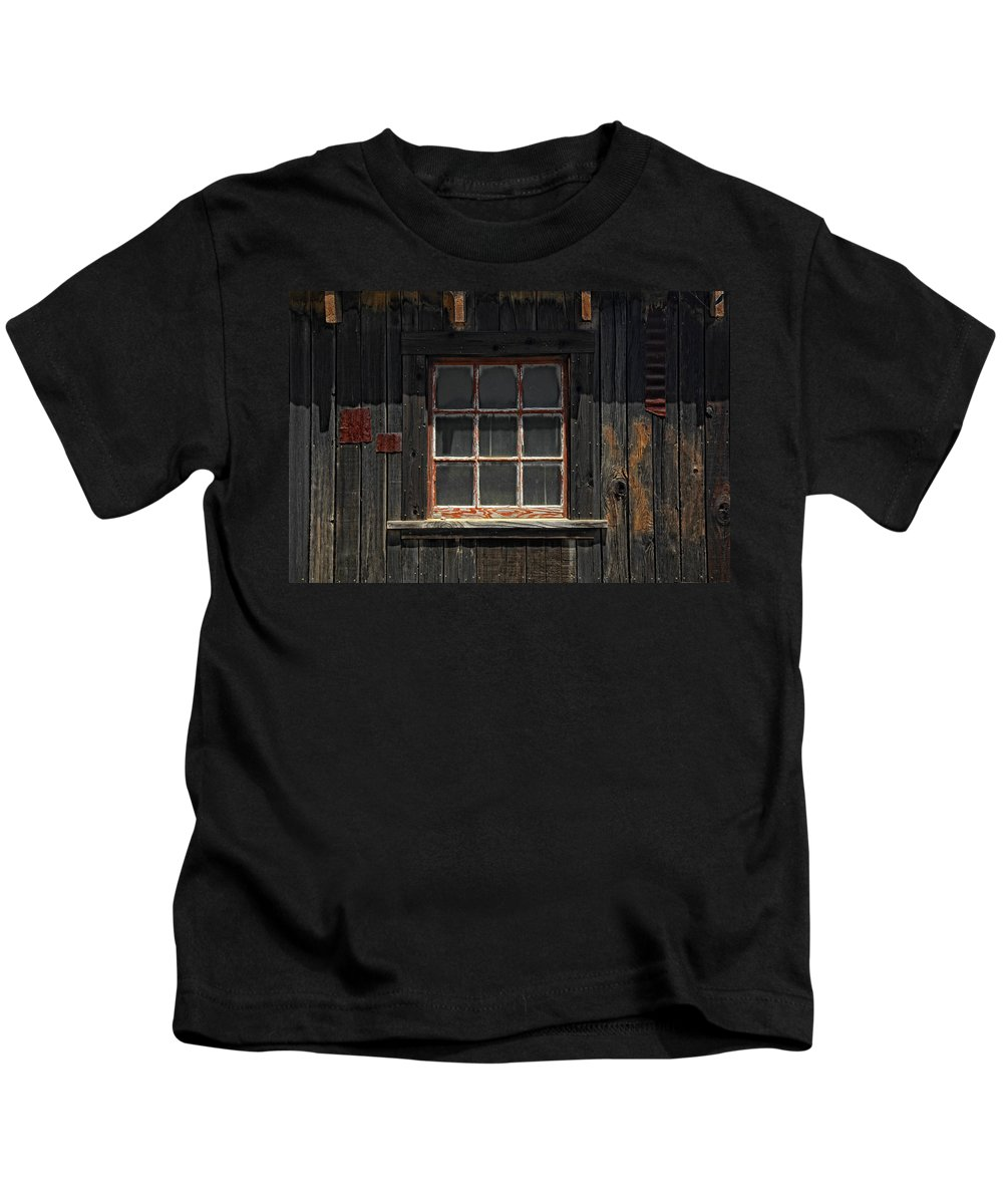 Old Window Kids T-Shirt featuring the photograph Need Windex by Donna Blackhall