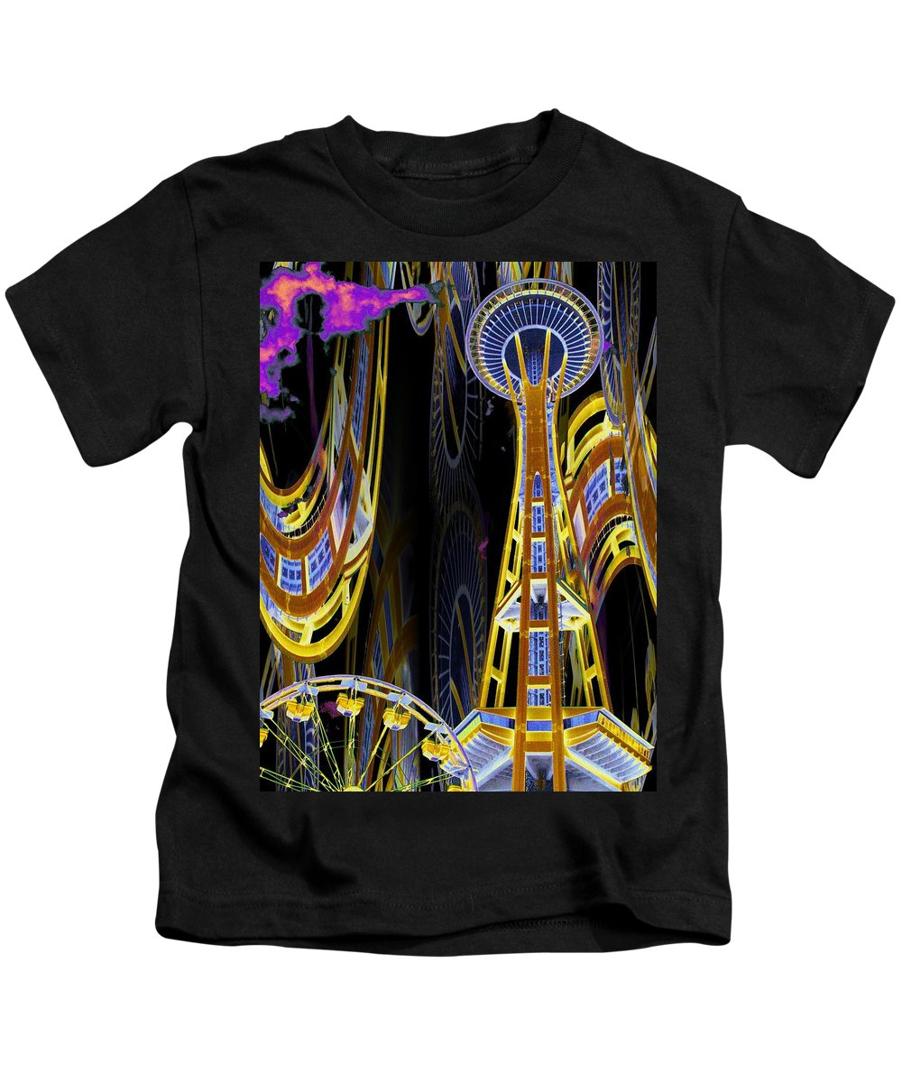 Seattle Kids T-Shirt featuring the digital art Needle And Ferris Wheel by Tim Allen