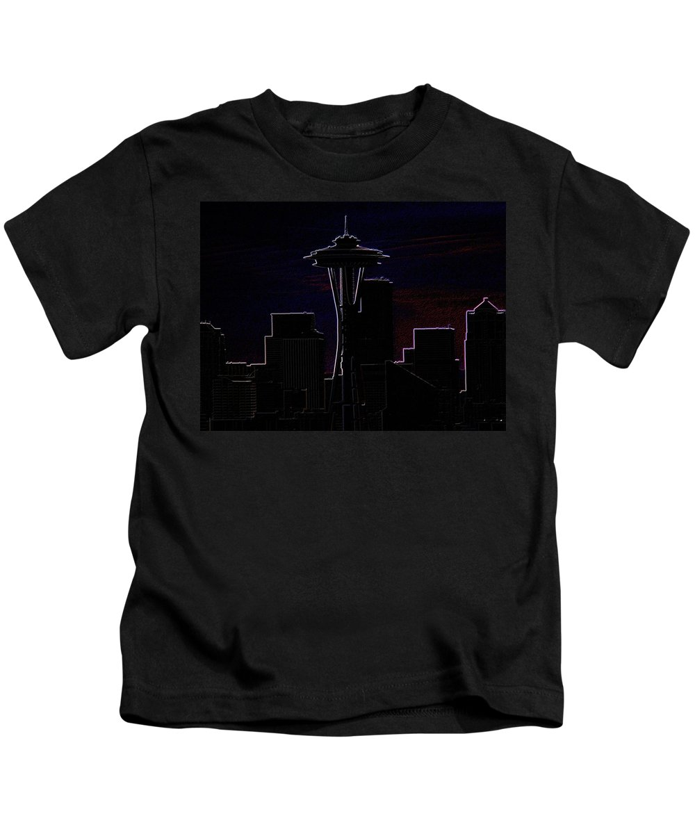 Seattle Kids T-Shirt featuring the photograph Needle From Kerry Park 2 by Tim Allen