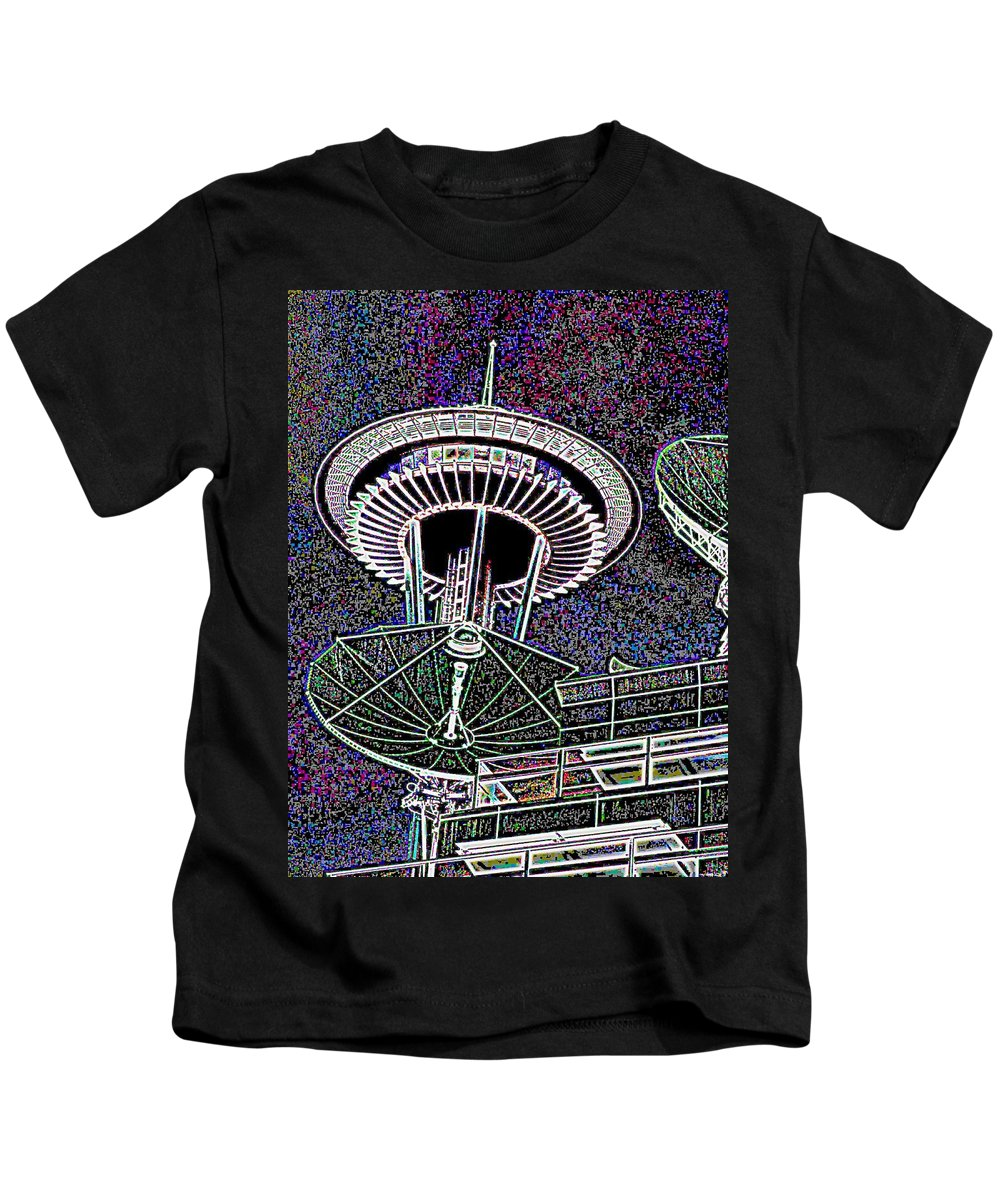 Seattle Kids T-Shirt featuring the digital art Needle Over Fisher Plaza by Tim Allen