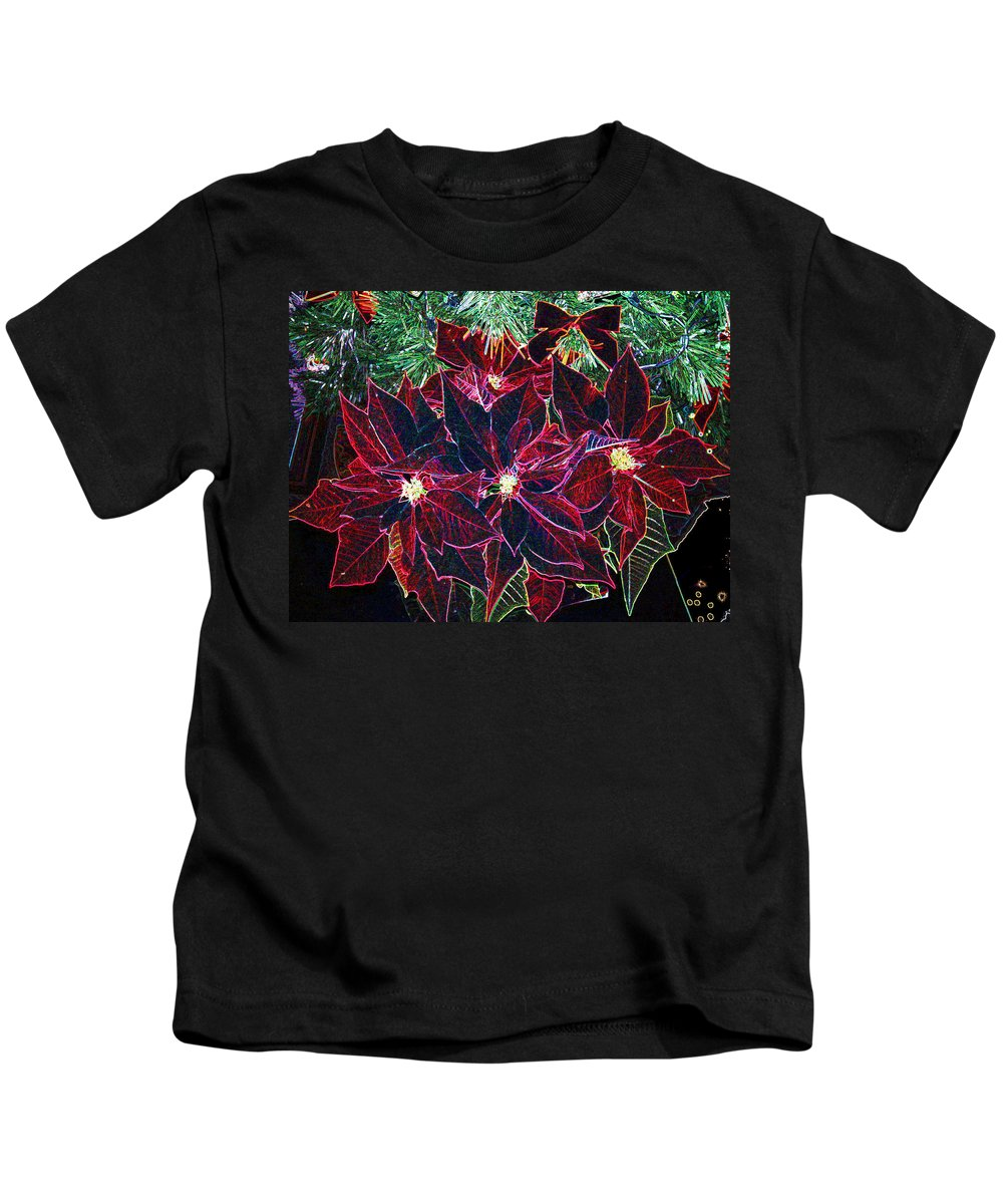 Flowers Kids T-Shirt featuring the photograph Neon Poinsettias by Nancy Mueller