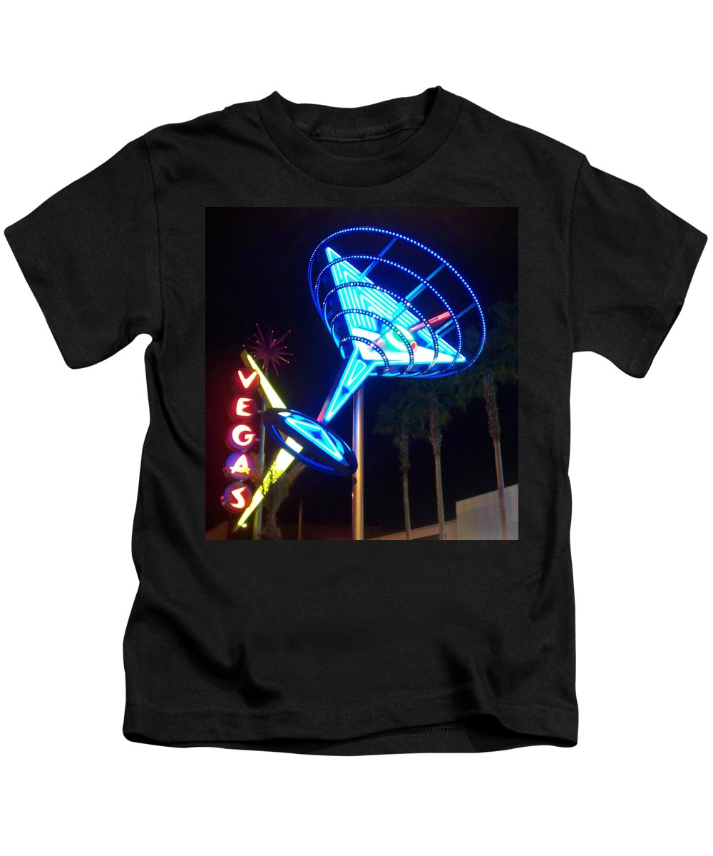 Vegas Kids T-Shirt featuring the photograph Neon Signs 1 by Anita Burgermeister