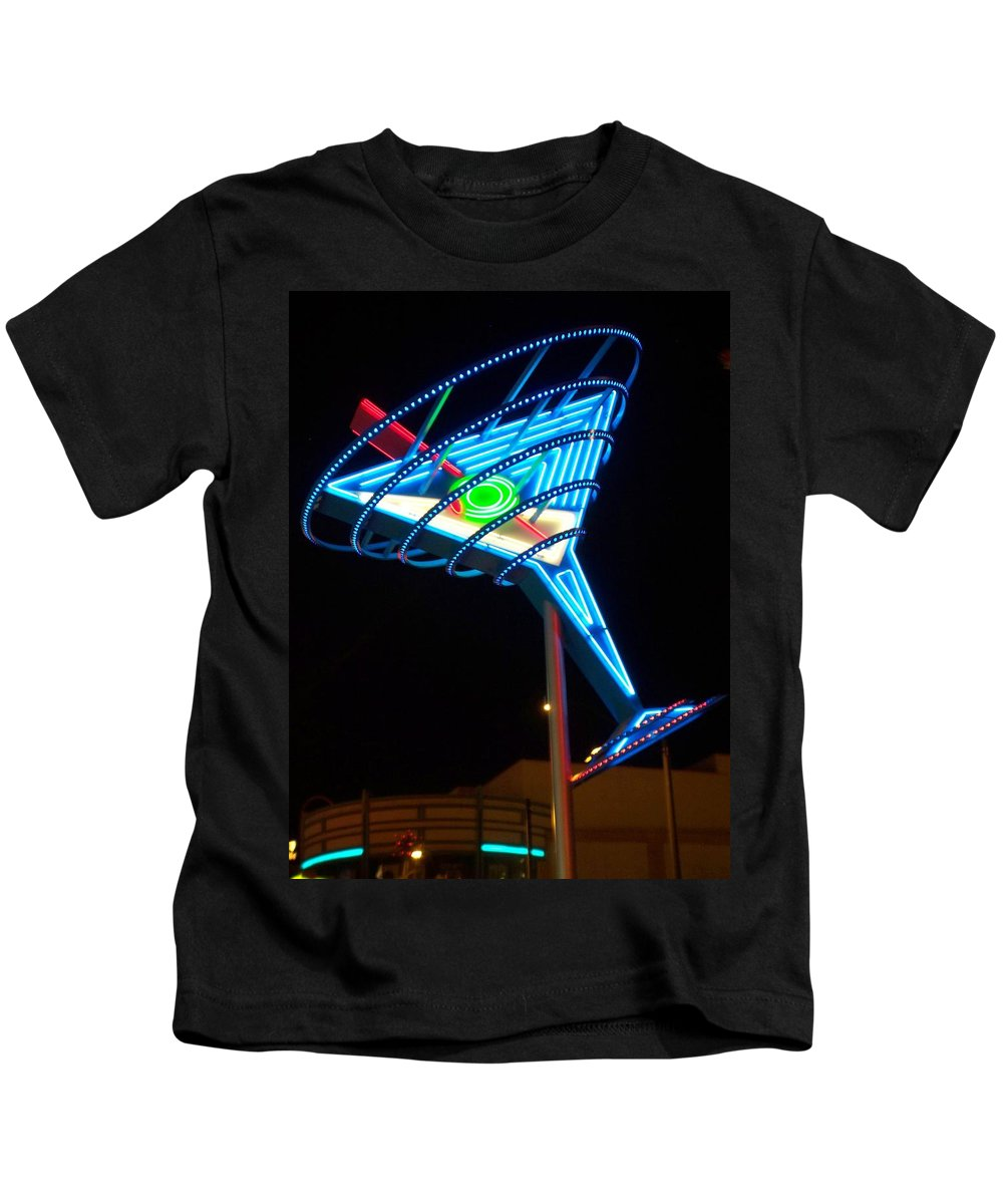 Fremont East Kids T-Shirt featuring the photograph Neon Signs 4 by Anita Burgermeister