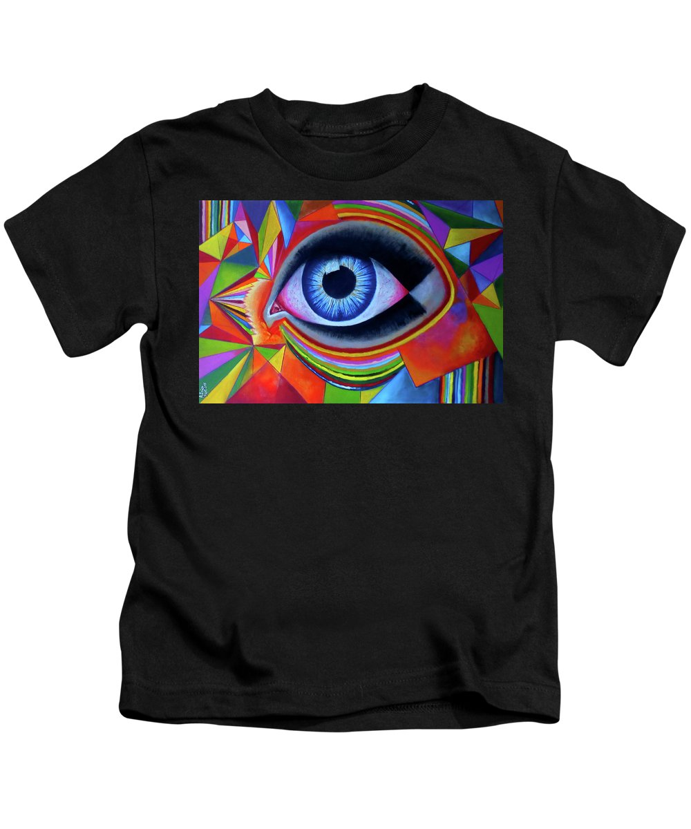 Abstract Art Kids T-Shirt featuring the painting Netra Daan_by Aatmica by Aatmica Ojha