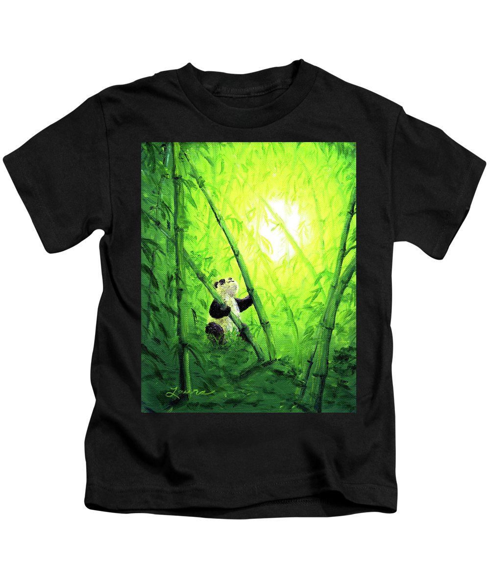 Zen Kids T-Shirt featuring the painting New Bamboo Leaves by Laura Iverson