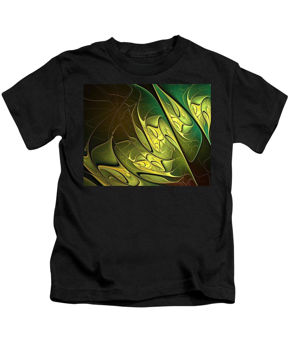 Digital Art Kids T-Shirt featuring the digital art New Leaves by Amanda Moore