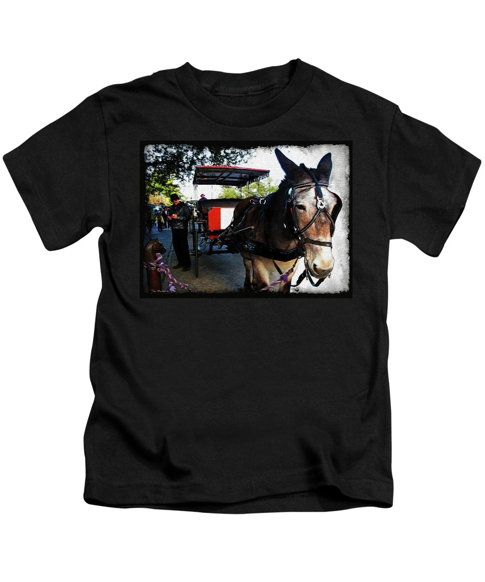 New Orleans Kids T-Shirt featuring the digital art New Orleans Carriage Ride by Joan Minchak