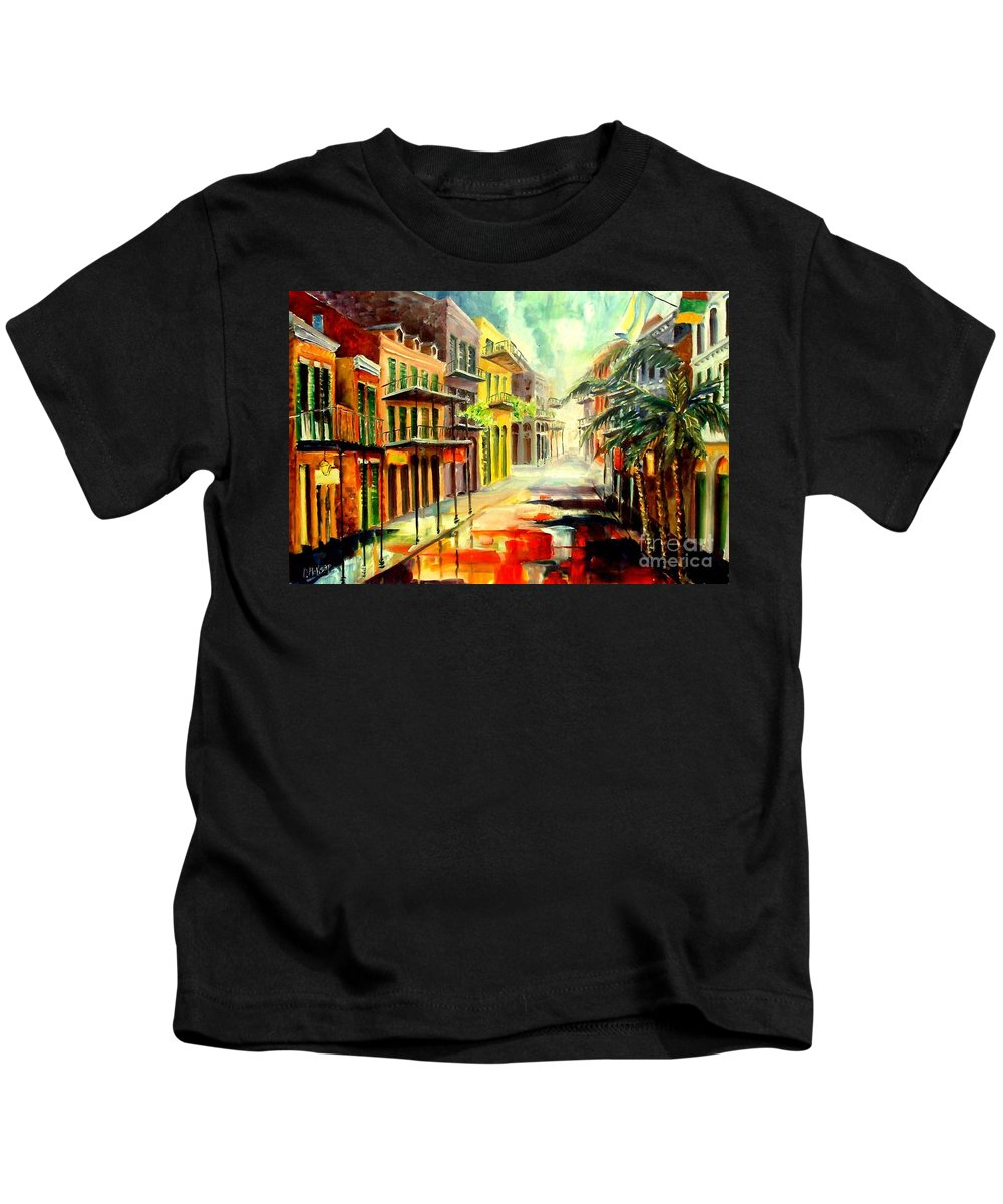 New Orleans Kids T-Shirt featuring the painting New Orleans Summer Rain by Diane Millsap