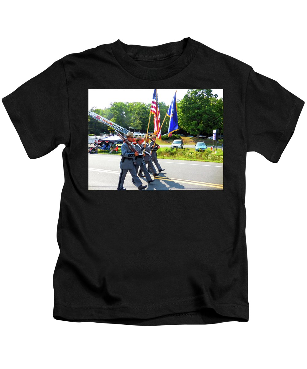 New York State Kids T-Shirt featuring the painting New York State Police Color Guard 6 by Jeelan Clark
