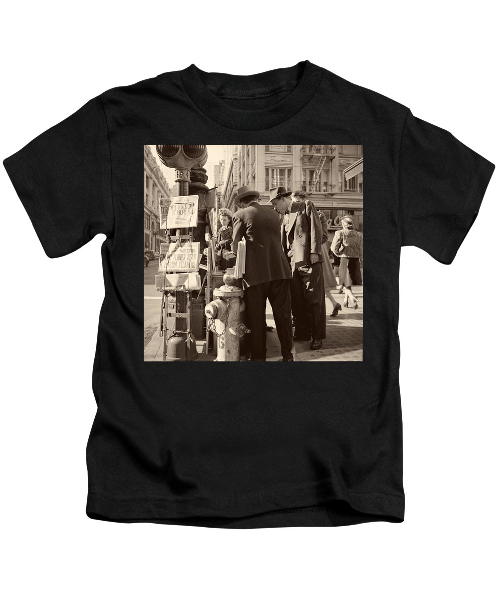 News Kids T-Shirt featuring the photograph News Of The Attack On Pearl Harbor - San Francisco 8 Dec 1941 by Mountain Dreams