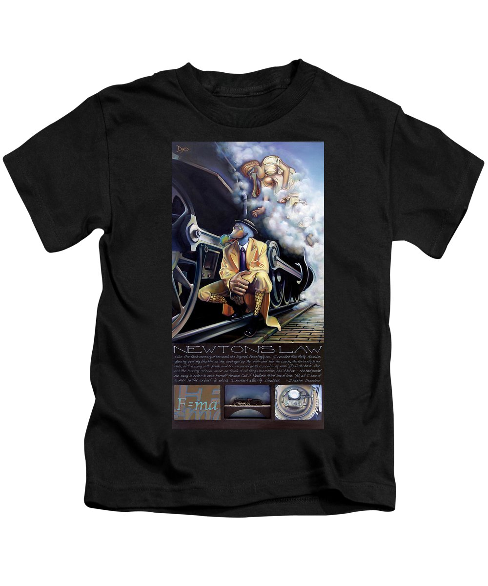 Locomotive Kids T-Shirt featuring the painting Newton's Law by Patrick Anthony Pierson