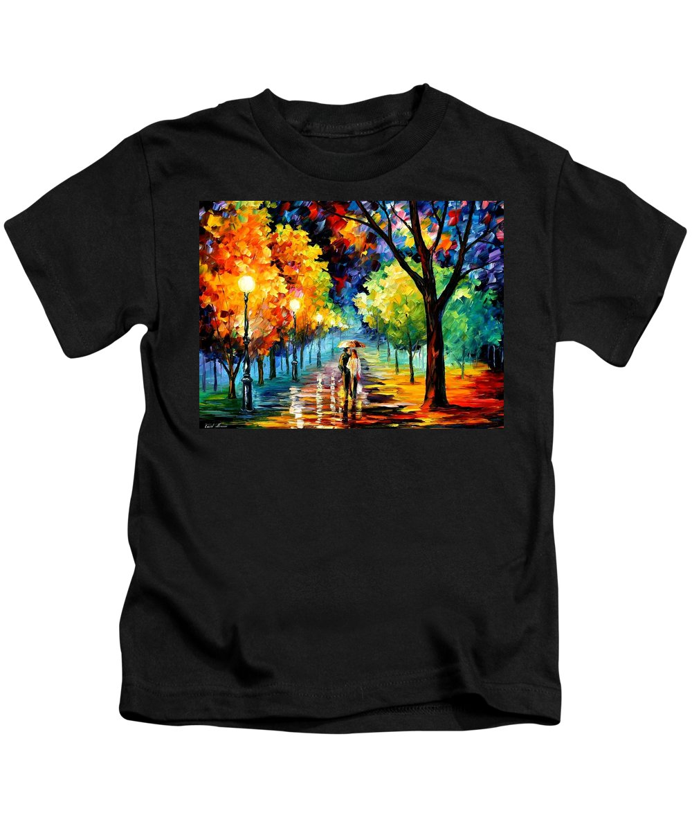 Afremov Kids T-Shirt featuring the painting Night Alley by Leonid Afremov