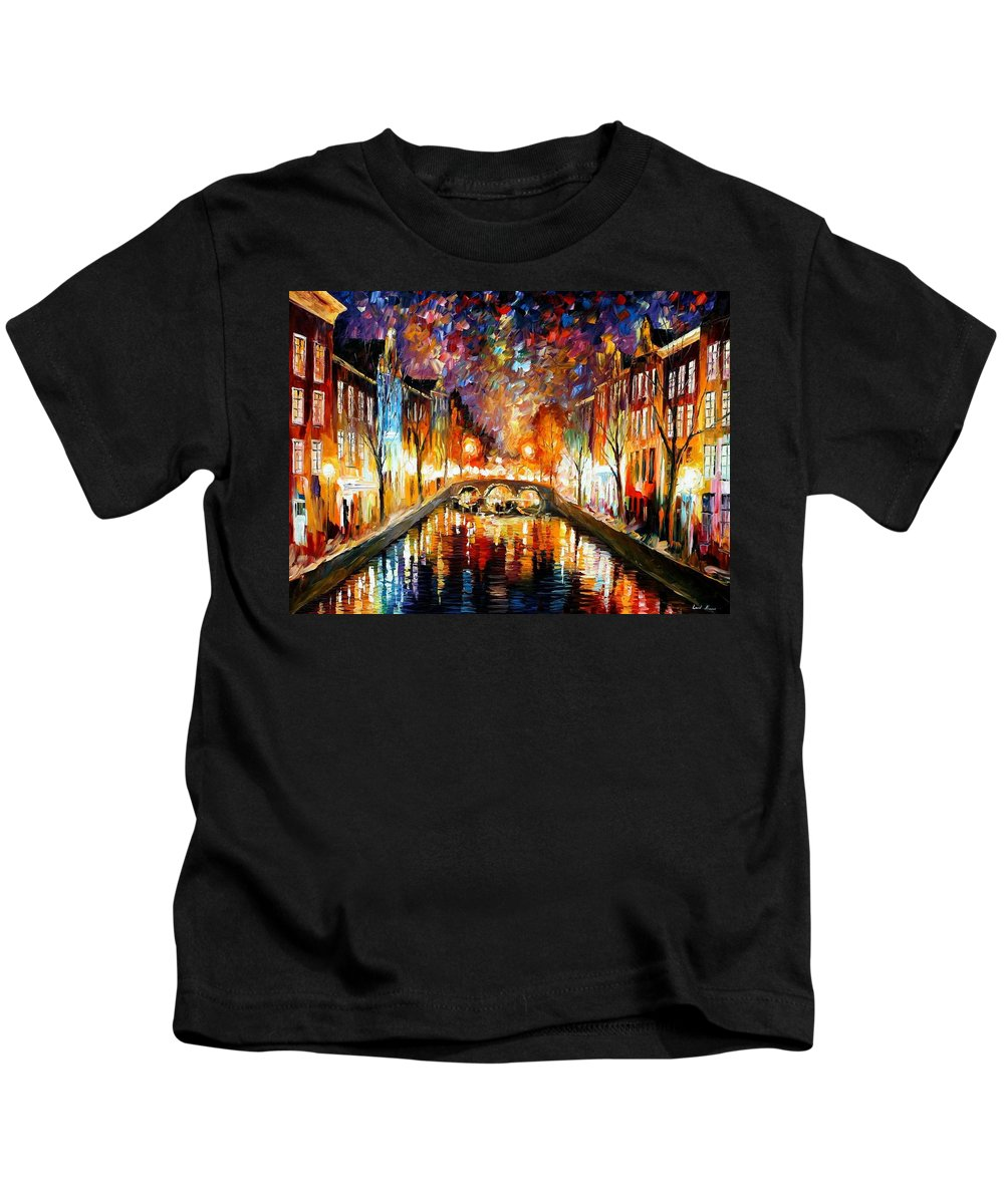 Afremov Kids T-Shirt featuring the painting Night Amsterdam by Leonid Afremov