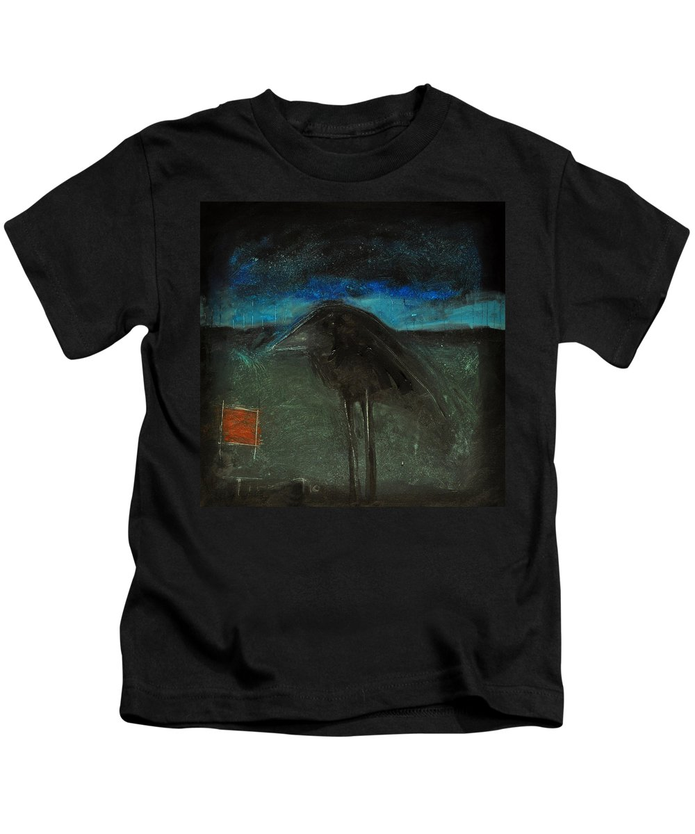 Bird Kids T-Shirt featuring the painting Night Bird With Red Square by Tim Nyberg