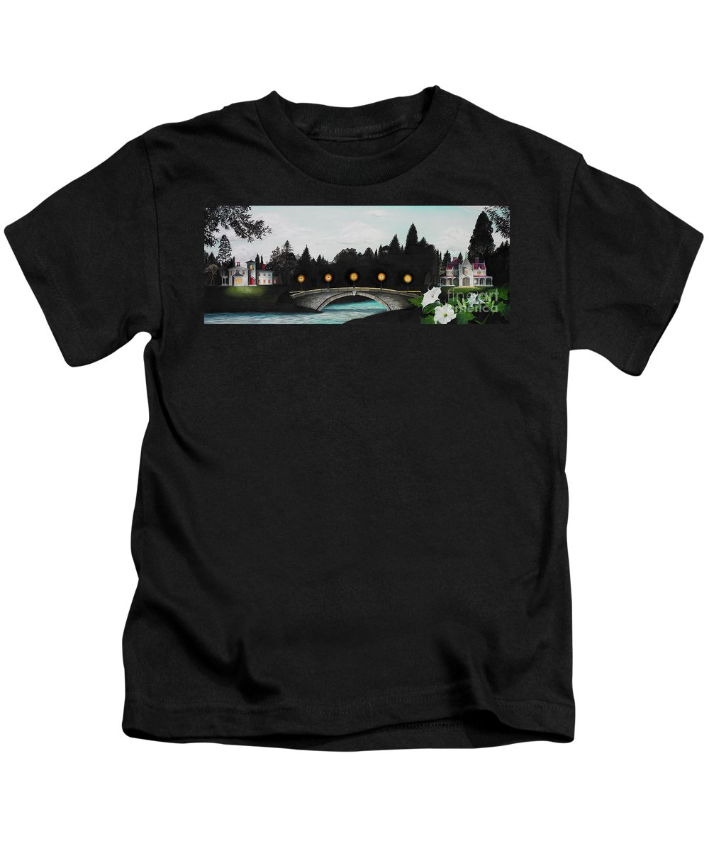 Architecture Kids T-Shirt featuring the painting Night Bridge by Melissa A Benson