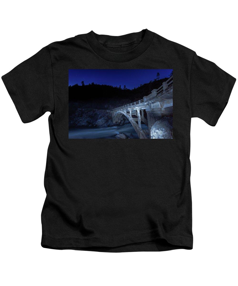 Yuba River Kids T-Shirt featuring the photograph Night Bridge by Robin Mayoff