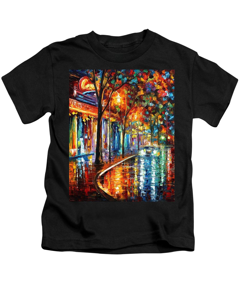 Afremov Kids T-Shirt featuring the painting Night Cafe by Leonid Afremov
