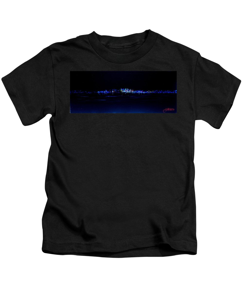New York Kids T-Shirt featuring the painting Night City by Jack Diamond