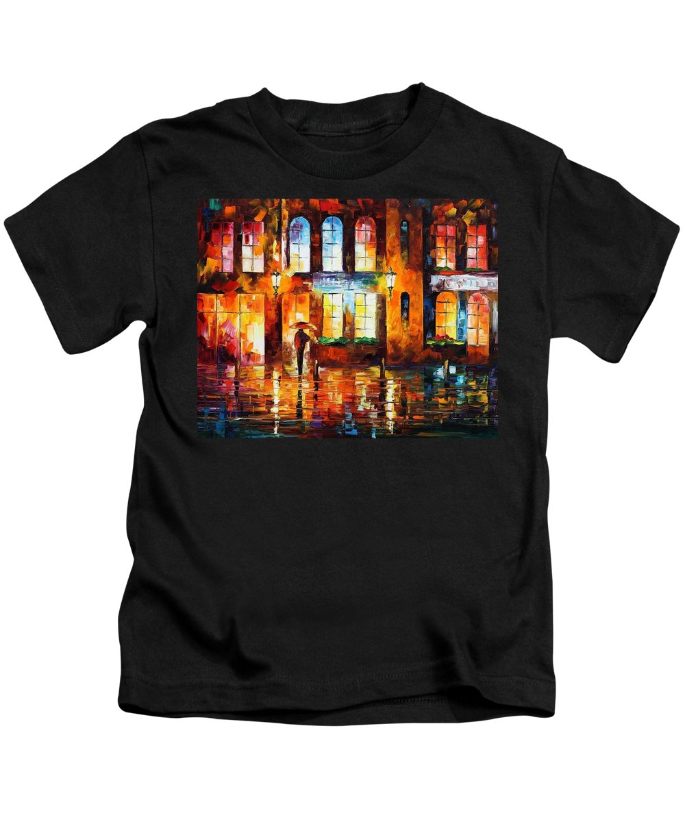 Afremov Kids T-Shirt featuring the painting Night City by Leonid Afremov