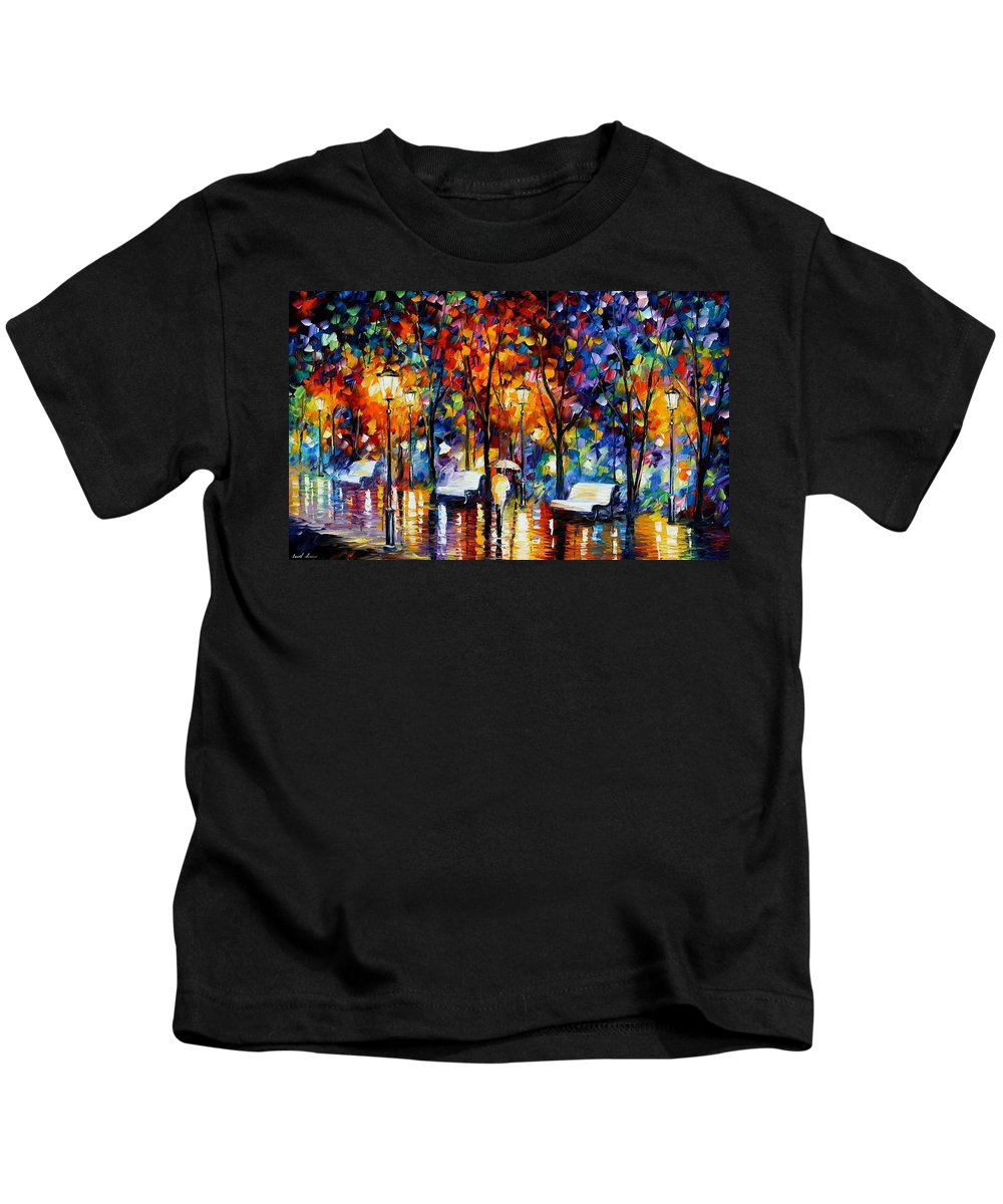 Afremov Kids T-Shirt featuring the painting Night Copenhagen by Leonid Afremov