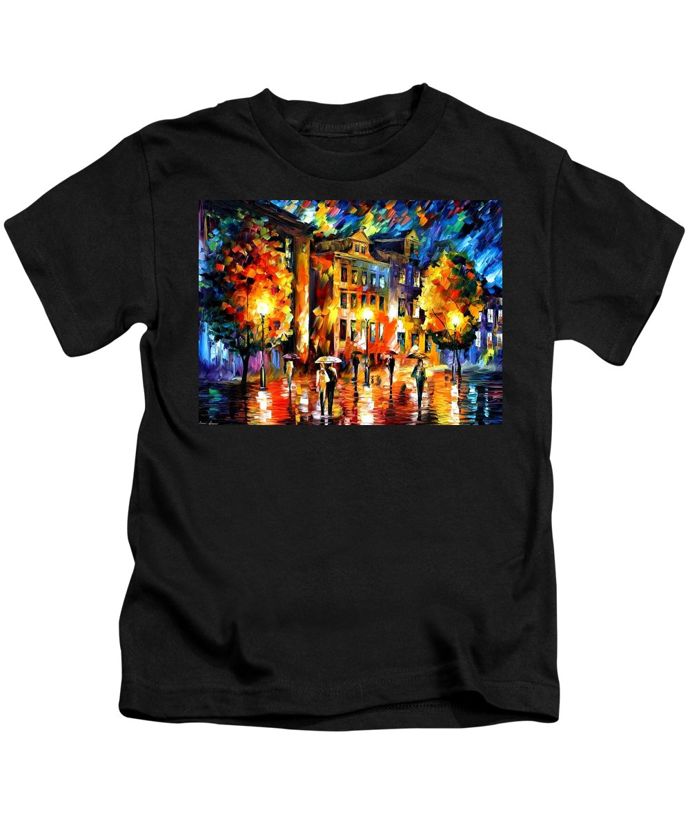 Afremov Kids T-Shirt featuring the painting Night Enigma by Leonid Afremov