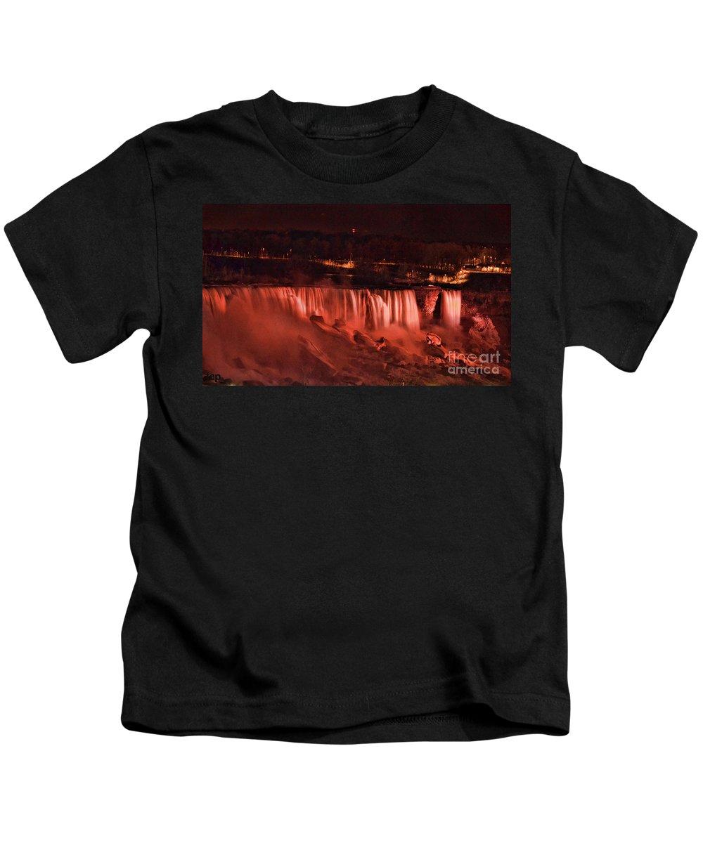 Niagara Kids T-Shirt featuring the photograph Night Falls by Traci Cottingham