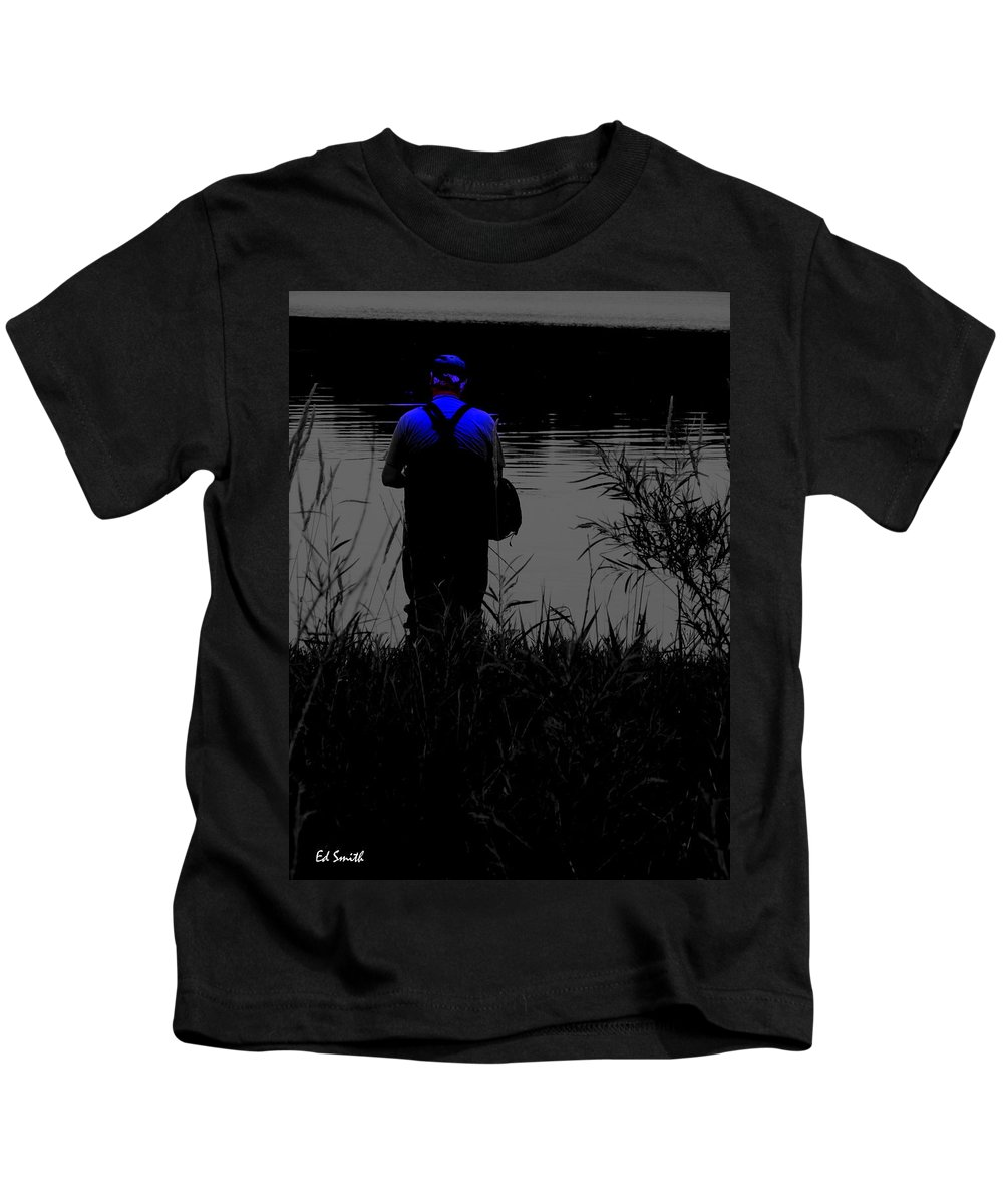 The Night Fisherman Kids T-Shirt featuring the photograph Night Fisherman by Edward Smith