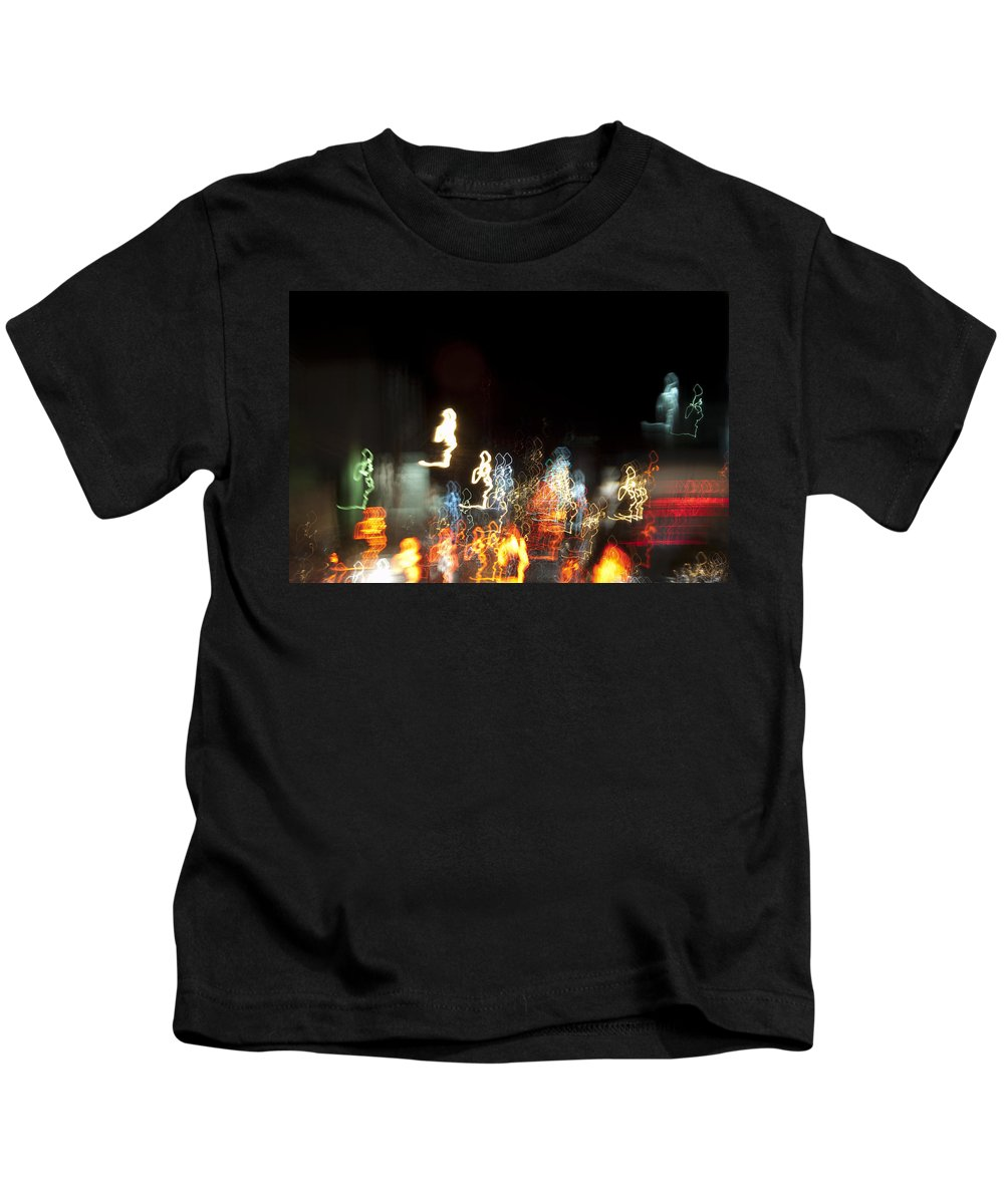 Abstract Kids T-Shirt featuring the photograph Night Forest - Light Spirits Limited Edition 1 Of 1 by Ordi Calder