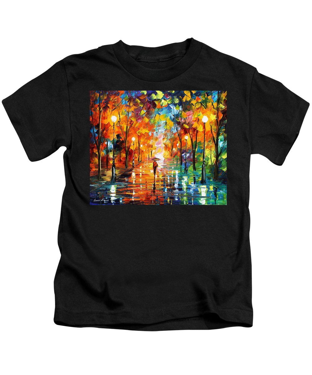 Afremov Kids T-Shirt featuring the painting Night Mood In The Park by Leonid Afremov
